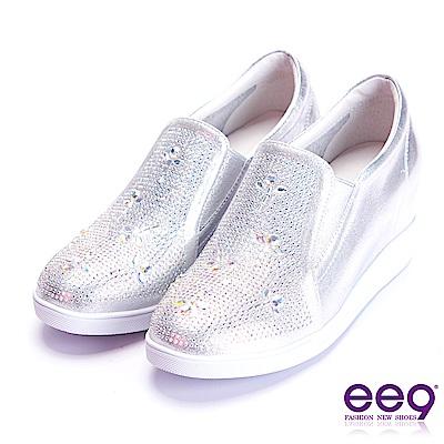 ee9 璀璨迷人進口牛皮鑲嵌亮鑽內增高休閒鞋 銀色