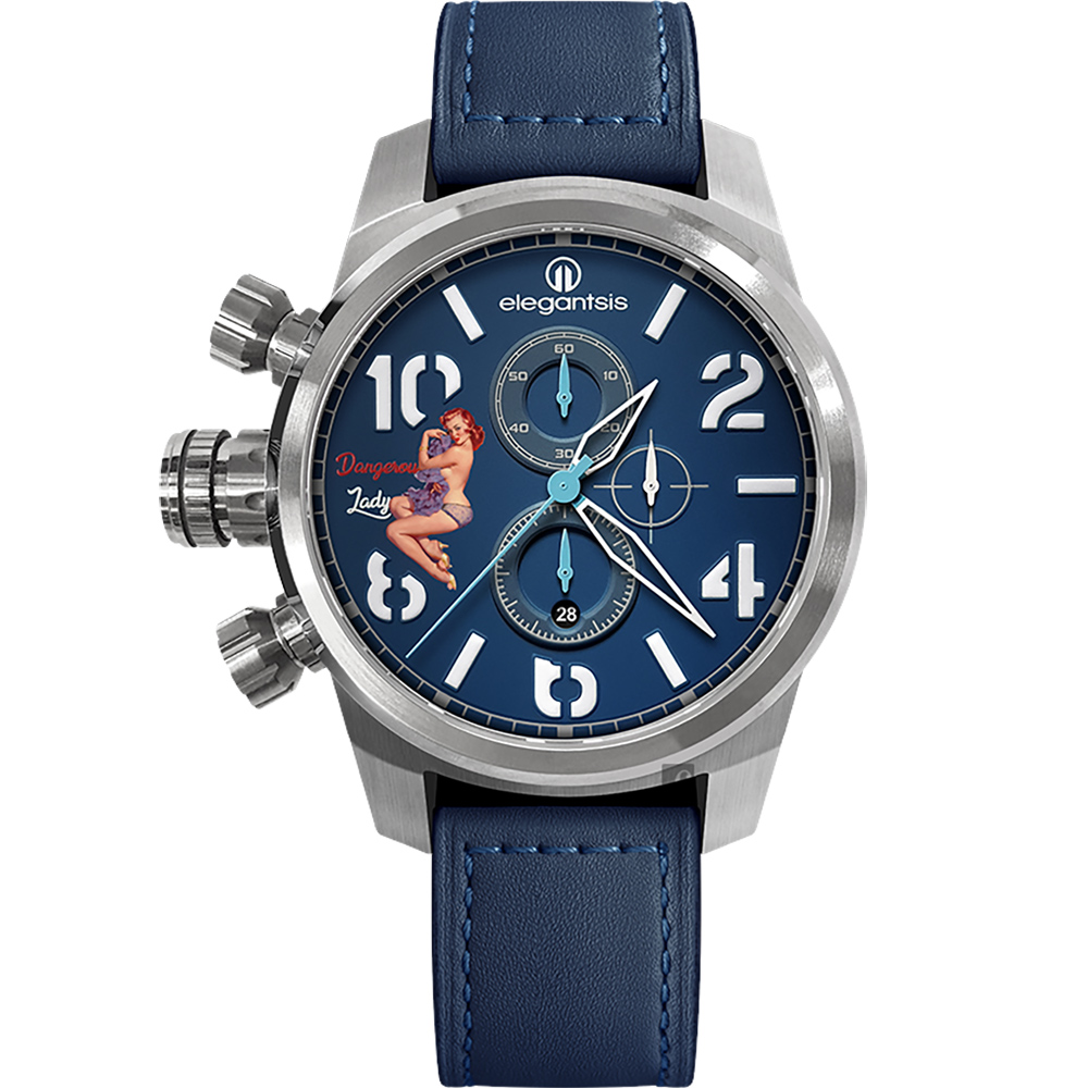 elegantsis JF48QS機頭藝術-女郎計時手錶-藍/48mm