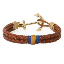Kiel James Patrick 咖啡色皮革雙層編織單圈船錨手鍊手環
