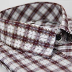 金‧安德森 白紅格紋金線長袖襯衫