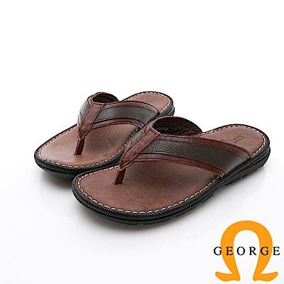 GEORGE 喬治-休憩系列 真皮手縫涼鞋拖鞋-咖