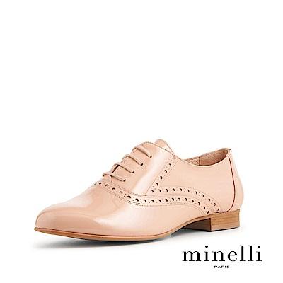 Minelli--葡萄牙製造 漆皮雕花平底牛津鞋-粉藕色