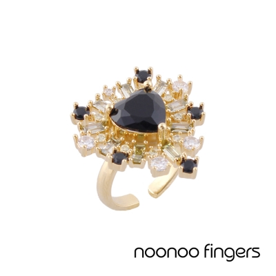 Noonoo Fingers AC Black Heart Ring 黑愛心 鑲水鑽 戒指