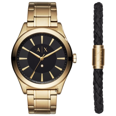 A│X Armani Exchange 紳士品格套錶-黑x金/44mm