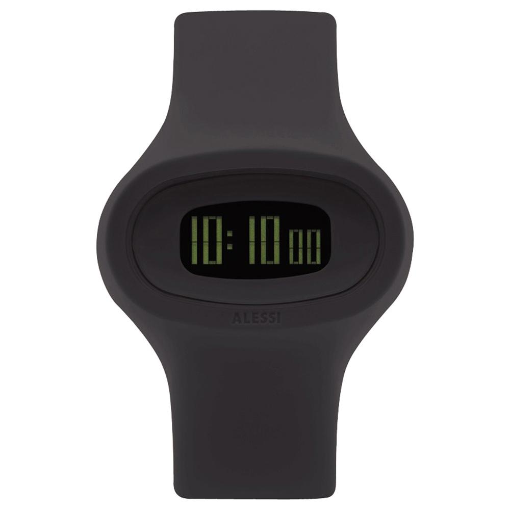 ALESSI 清晰潮流電子腕錶-黑/43mm