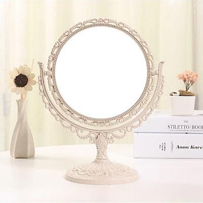 幸福揚邑 歐式麥稈化妝鏡旋轉放大雙面桌鏡-圓形米
