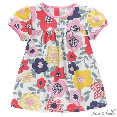 Dave Bella 紅粉黃繽紛花朵短袖洋裝