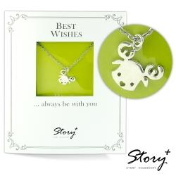 STORY故事銀飾-祈福項鍊 卡片銀飾麋鹿款