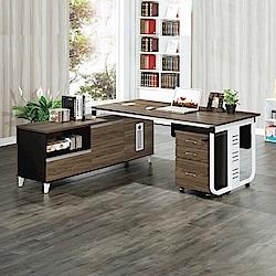 AS-艾文胡桃L型辦公桌-160x160x76cm