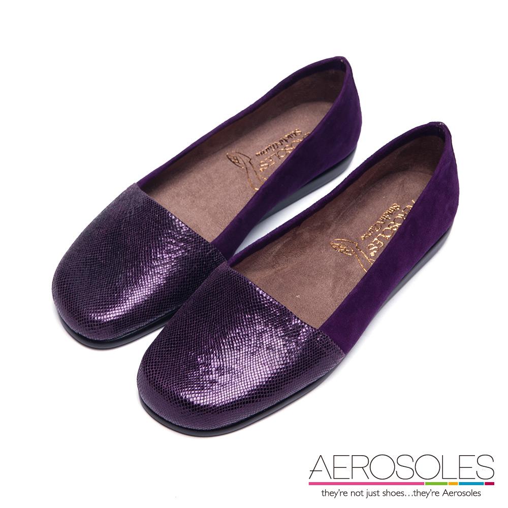 AEROSOLES 星光大道原色閃亮亮休閒便鞋~優雅紫色