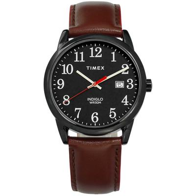 TIMEX 天美時 美國第一品牌 專利冷光照明 日期 真皮手錶-黑x咖啡/38mm