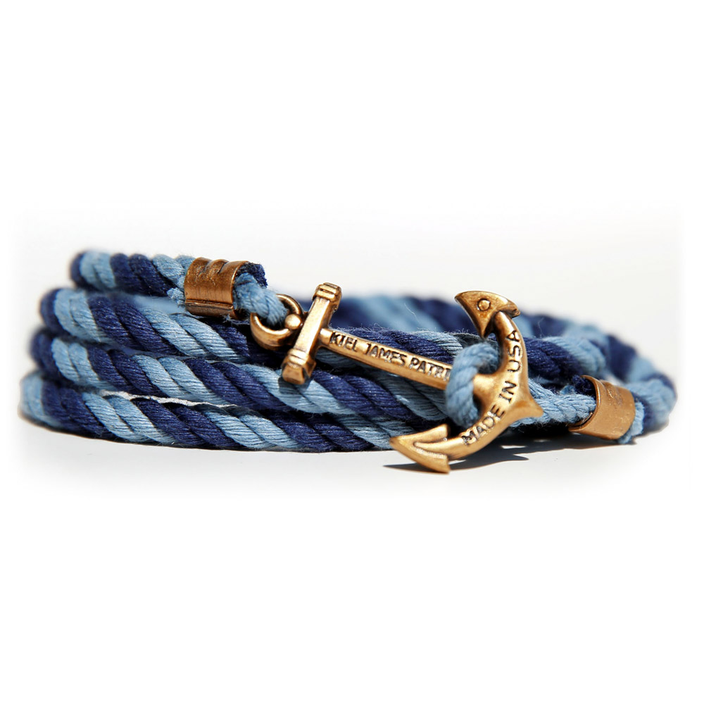 Kiel James Patrick 美國手工船錨棉麻繩多圈手環 深淺藍雙色編織