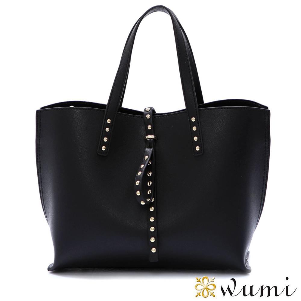 WuMi 無米 菲歐娜率性鉚釘包 時尚黑