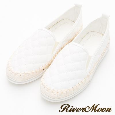 River&Moon大尺碼-小香菱格縫線麻編休閒懶人鞋-白