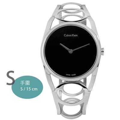 CK Round迷人優美光環不鏽鋼腕錶-黑色/32mm