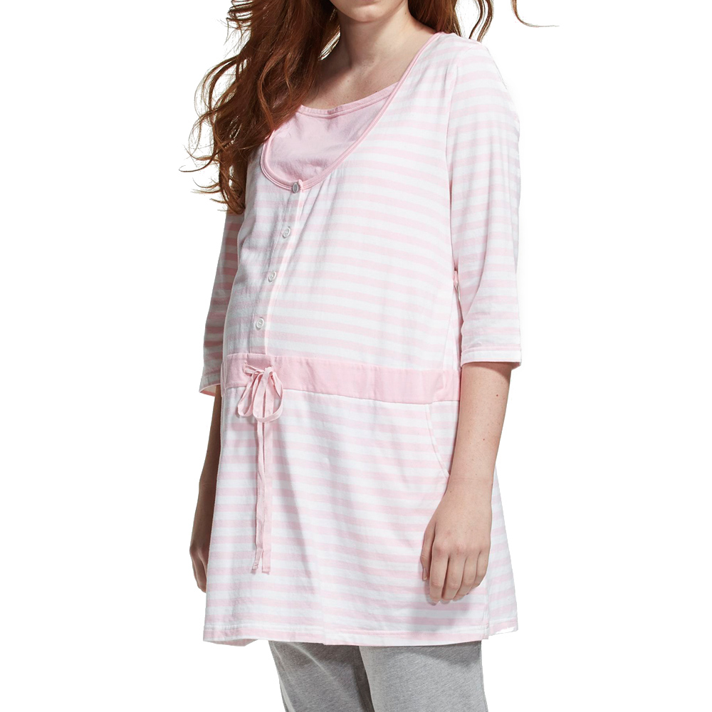 【ohoh-mini 孕婦裝】超顯瘦假兩件條紋長版成套睡衣