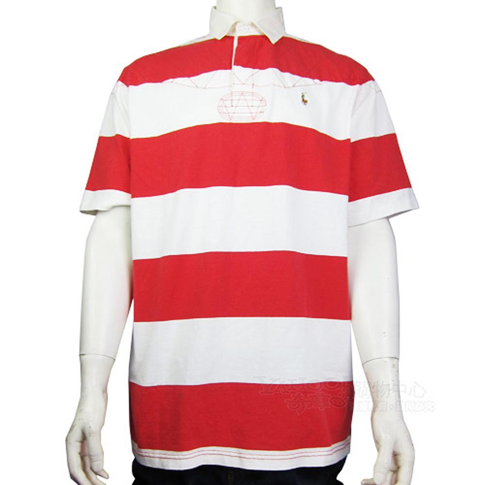 Ralph Lauren 小馬粗細條紋POLO男衫(紅白)