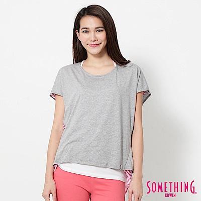 SOMETHING 巴黎氣質直條T恤-女-麻灰色