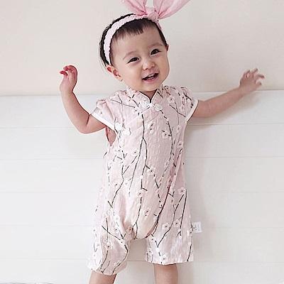 Baby unicorn 復古粉梅花短袖連身衣包屁衣