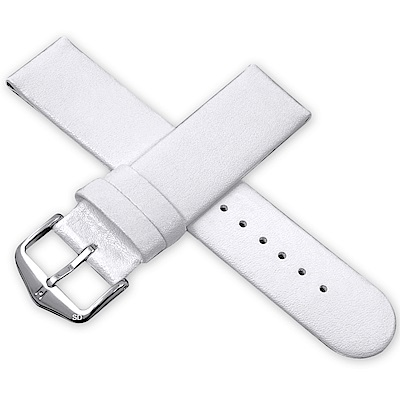 海奕施 HIRSCH Scandic M 設計感圓弧皮革錶帶 防水可清洗-白
