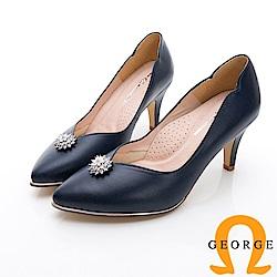 GEORGE 喬治-婚鞋系列 璀璨鑽飾尖頭中跟鞋-藍