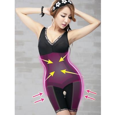 塑身衣 560D雙層強塑連身長管束衣 M-Q (晶鑽黑) ThreeShape