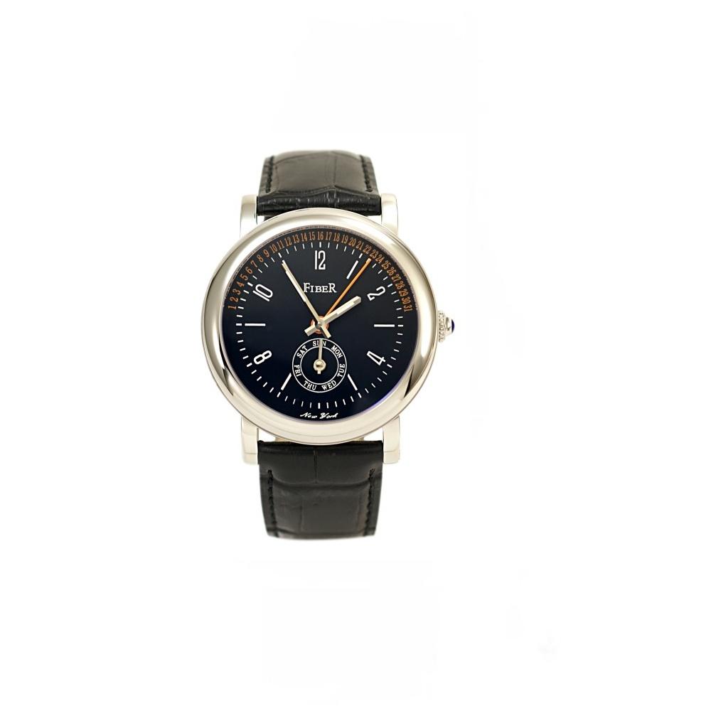 Fiber飛返逆跳多功能機械腕錶-黑/40mm