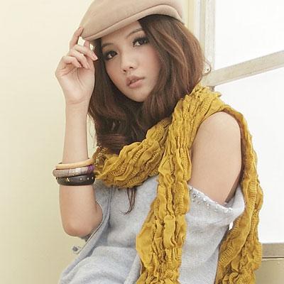 【I-shi】暖呼呼~雙格混織厚款圍巾(芥黃)