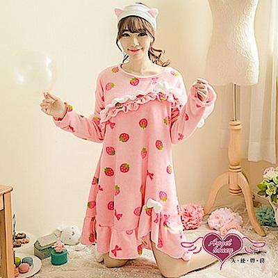 保暖睡衣 花邊草莓 法蘭絨一件式連身長袖居家服(粉F) AngelHoney天使霓裳