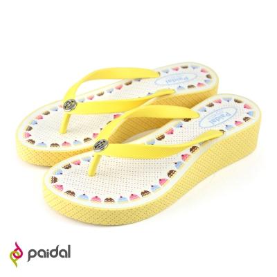 Paidal蛋糕甜點厚底夾腳拖鞋-起司黃