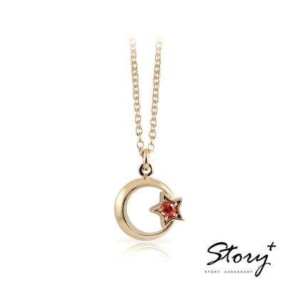 STORY故事銀飾-浪漫星月-純銀項鍊(黃K金)