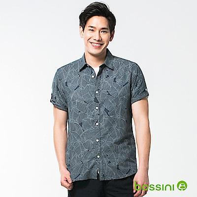 bossini男裝-休閒棉麻短袖襯衫02海軍藍