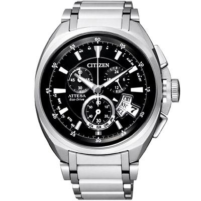 CITIZEN 強烈型男【鈦】光動能電波計時腕錶(BY0020-59E)-黑/46mm