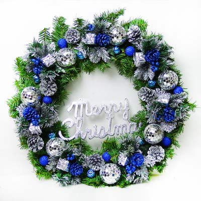 24吋豪華高級聖誕花圈(藍銀色系)
