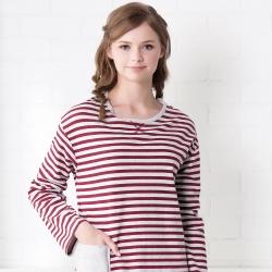 羅絲美睡衣 -條條有理長袖洋裝睡衣(紅條紋)