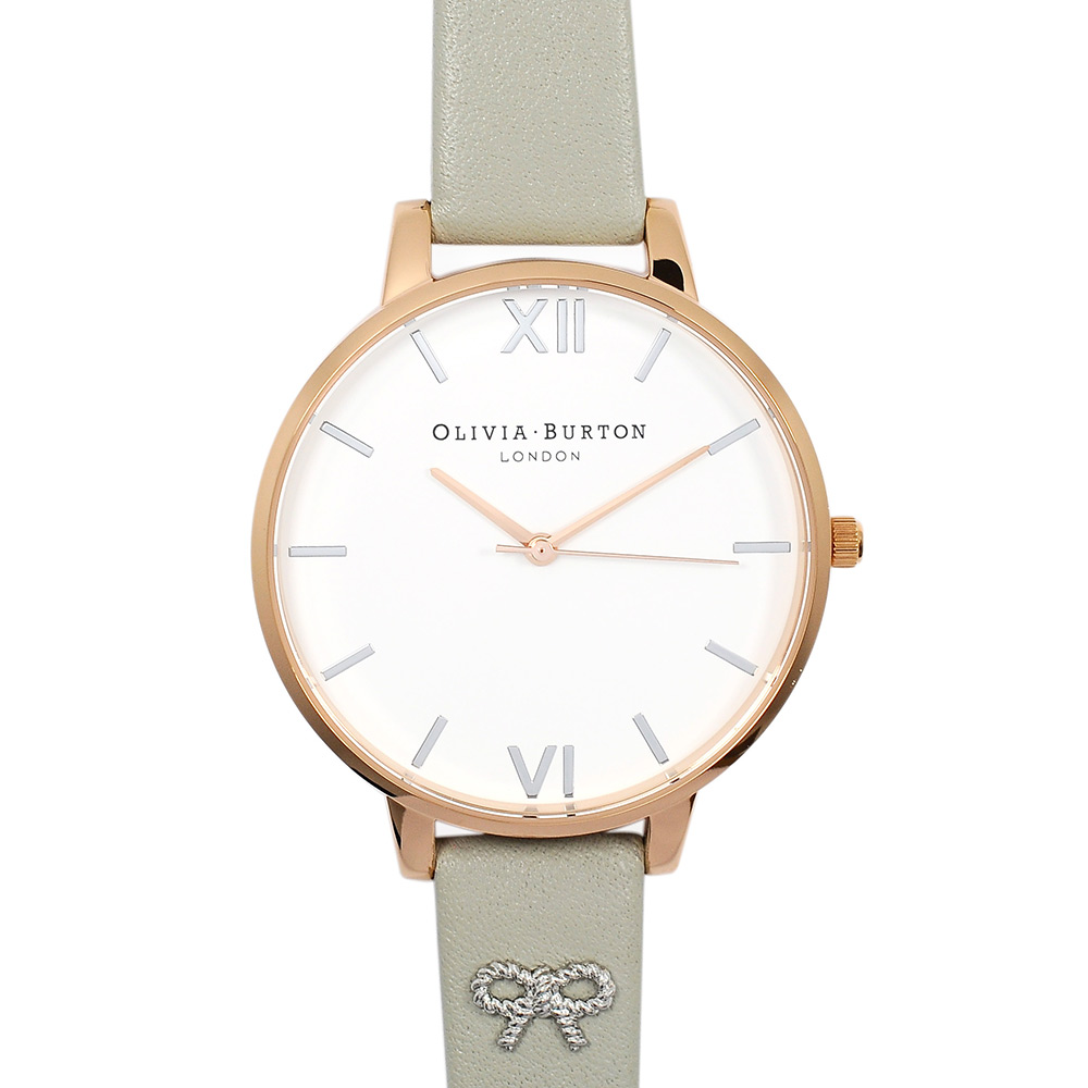 Olivia Burton 英倫復古手錶 3D立體蝴蝶墜飾真皮錶帶 玫瑰金x灰38mm
