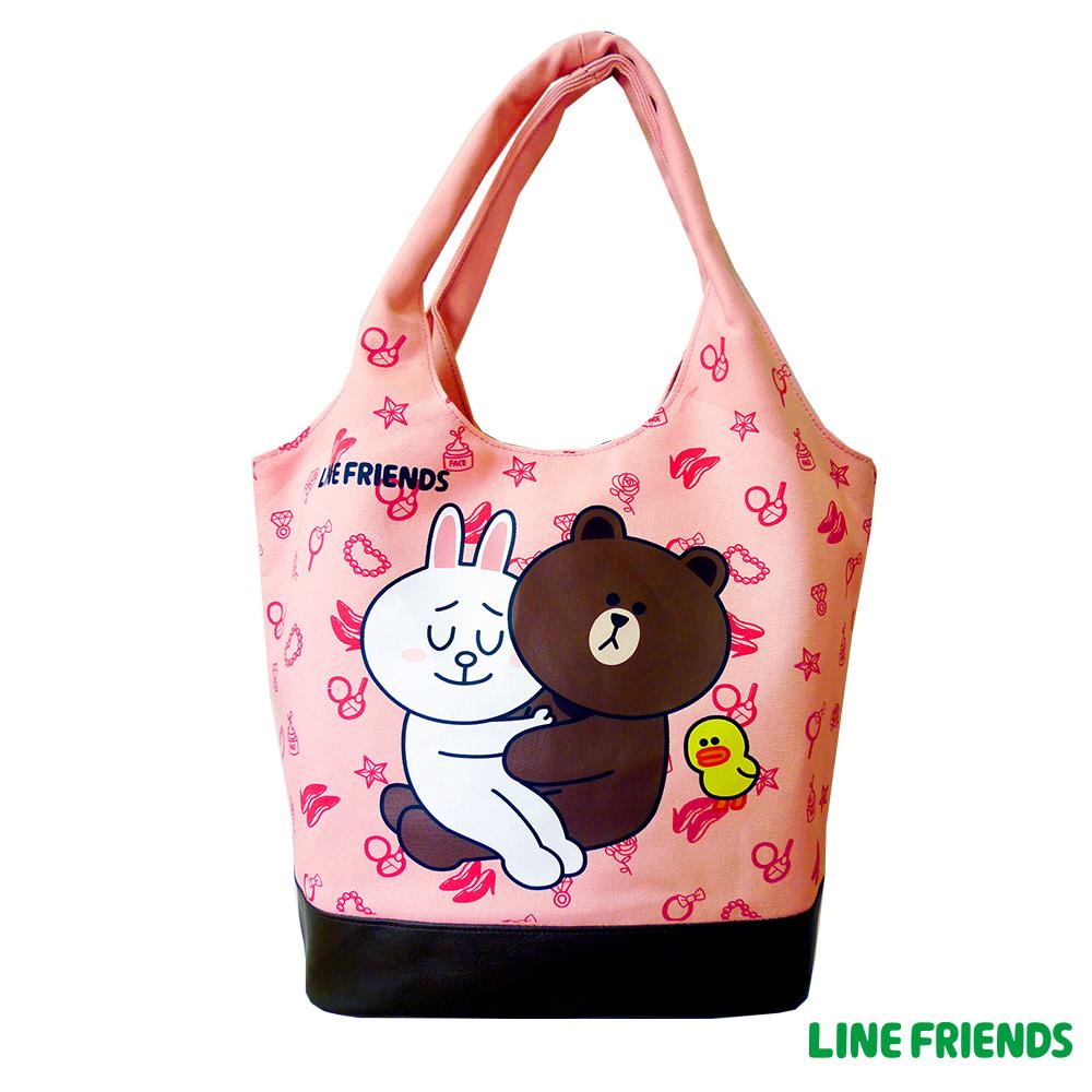 【LINE FRIENDS】MIT 休閒帆布俏麗袋(草莓粉)