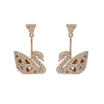 SWAROVSKI 施華洛世奇 優雅玫瑰金天鵝鏤空造型水晶耳墜長耳環
