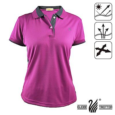 【遊遍天下】MIT台灣製女款吸濕排汗抗UV機能POLO衫S075-1紫紅