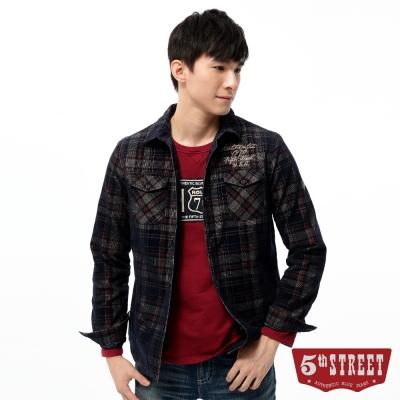 5th STREET 襯衫 格紋鋪棉長袖襯衫-男-黑藍