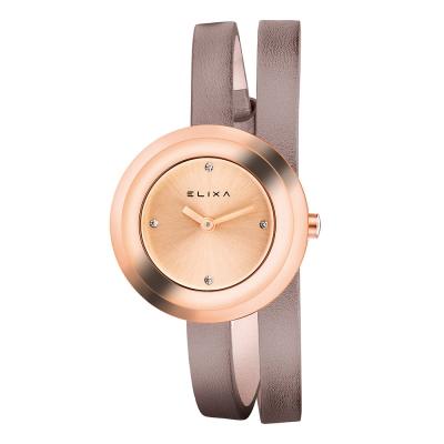 ELIXA Finesse系列玫瑰金框 晶鑽錶盤/灰褐色皮革纏繞式錶帶28mm