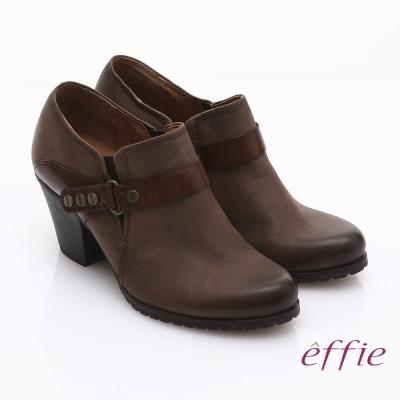 effie 魅力時尚 全真皮雙色魔鬼氈粗跟踝靴 深咖