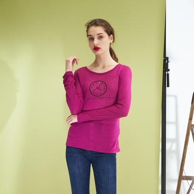 Hana+花木馬 好感時尚造性印花百搭棉質上衣-紫紅(2色)