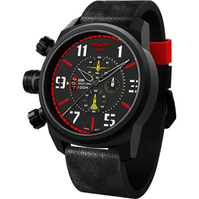 elegantsis Army 叢林戰鬥強悍三眼計時腕錶-黑x紅/48mm