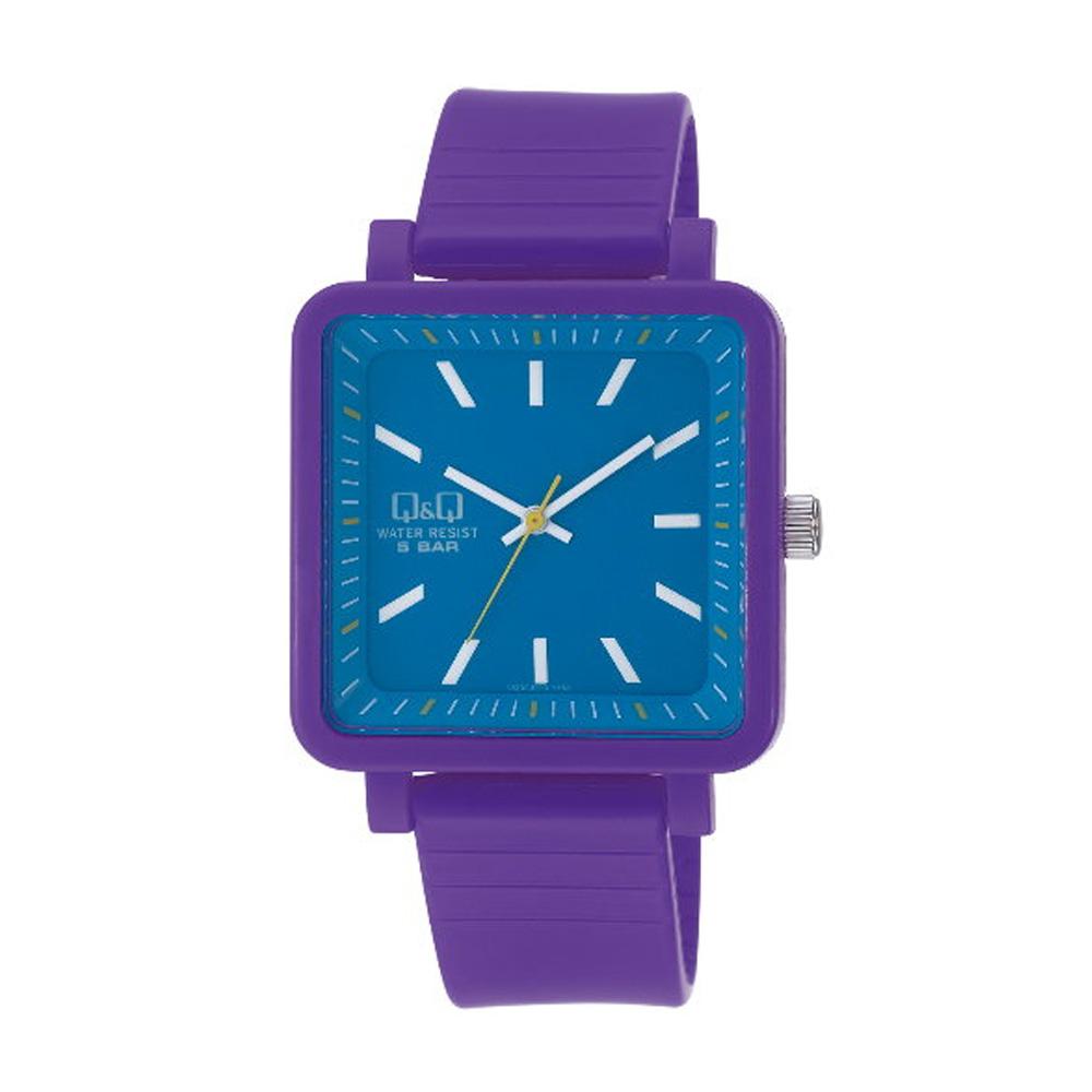 Q&Q 日系個性方正撞色混搭泡泡糖潮流錶-藍x紫/38mm