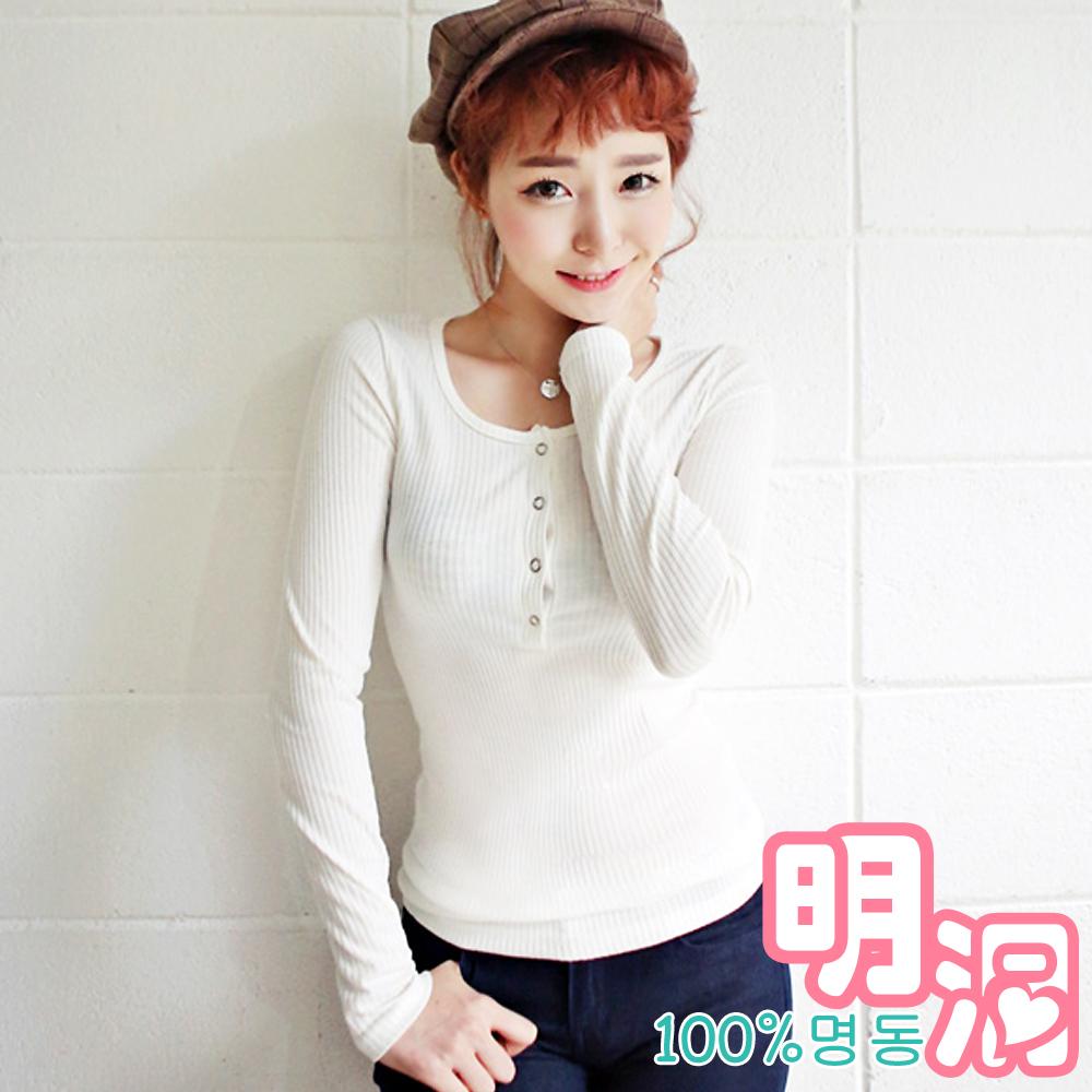 領口開襟坑條輕薄棉質T恤 (共五色)-100%明洞