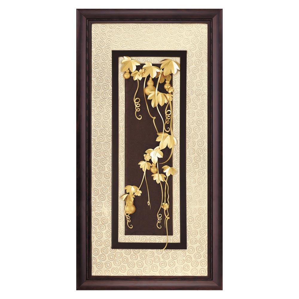 鹿港窯-立體金箔畫-五福臨門(高昇系列42x81cm)