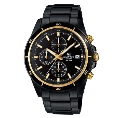 EDIFICE 精準時刻賽車計時黑離子IP腕錶(EFR-526BK-1A9)-黑X金圈/45mm