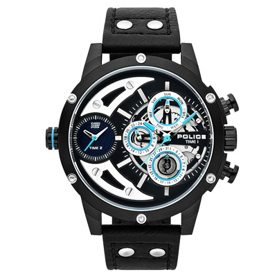 POLICE 機械禁區時尚腕錶-黑色x黑色/50mm