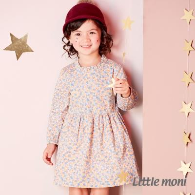 Little moni 荷葉微立領碎花洋裝 (共2色)